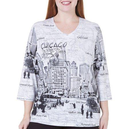 Alia Plus Chicago Destination Print Top