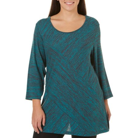 Alia Plus Space Dye Print Tunic Top