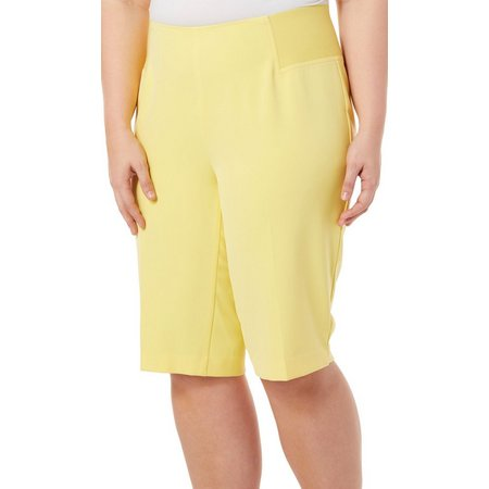 Alia Plus Solid Pull On Bermuda Shorts