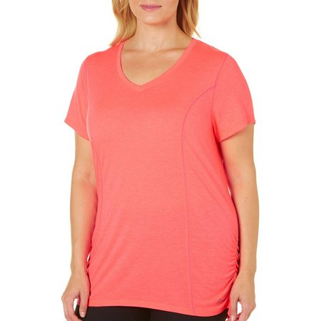 RBX Plus Solid Side Ruched Top