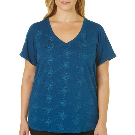 Dept 222 Plus Deep Sea Flower Embroidered Top