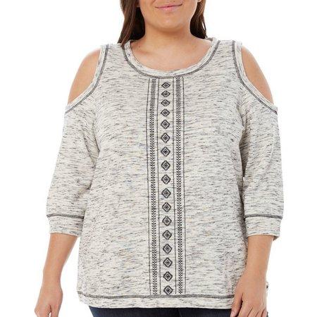 Dept 222 Plus Embroidered Cold Shoulder Top