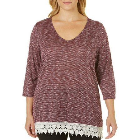Dept 222 Plus Deep Sea V-Neck Crochet Hem