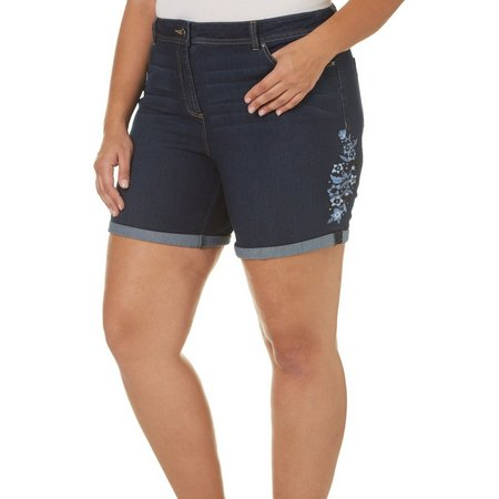 Dept 222 Plus Embroidered Denim Roll Shorts
