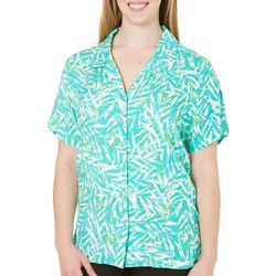Caribbean Joe Plus Camp Paradise Leaf Print Shirt