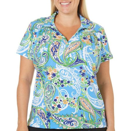 Caribbean Joe Plus Paisley Printed Polo Shirt