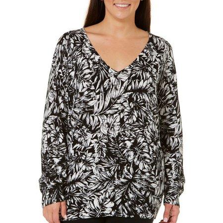 Caribbean Joe Plus Rain Forest Printed Sweater