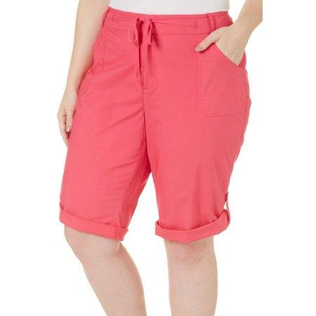 Caribbean Joe Plus Solid Drawstring Shorts