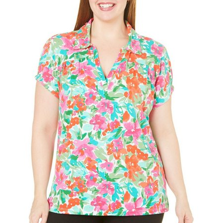 Caribbean Joe Plus Isabelle Hibiscus Polo Shirt
