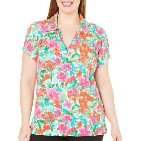 Caribbean Joe Plus Isabelle Hibiscus Polo Shirt