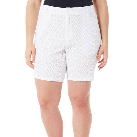 New! Caribbean Joe Plus Eyelet Skimmer Shorts