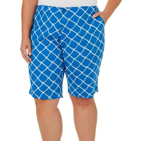 Caribbean Joe Plus Rope Print Skimmer Shorts