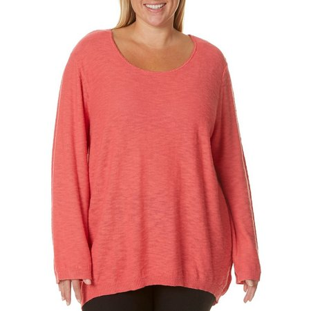 Caribbean Joe Plus Solid Long Sleeve Scoop Neck