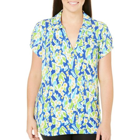Caribbean Joe Plus Spring Blossom Polo Top