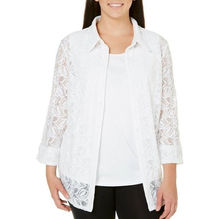 Alfred Dunner Plus Lace Fish Duet Top