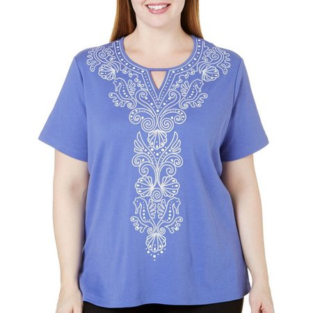 Alfred Dunner Plus Seahorse and Shell Top