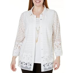 Alfred Dunner Plus Lace Border Top
