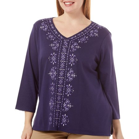 Alfred Dunner Plus Center Embroidered Top