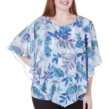 Alfred Dunner Plus Arizona Sky Leaves Poncho Top