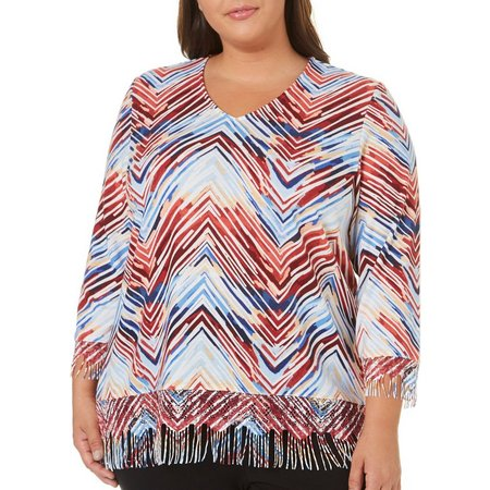 Alfred Dunner Plus Zigzag Fringe Top