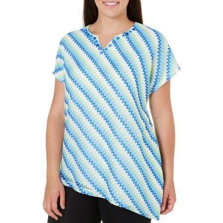 New! Alfred Dunner Plus Corsica Diagonal Stripe Top