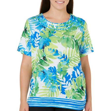 New! Alfred Dunner Plus Corsica Tropical Leaf Print
