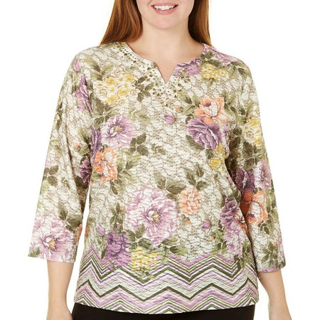 Alfred Dunner Plus Palm Desert Lace Floral Top