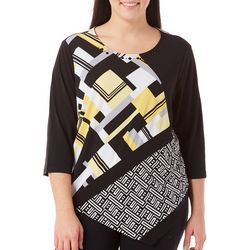 Alfred Dunner Plus City Life Geometric Top
