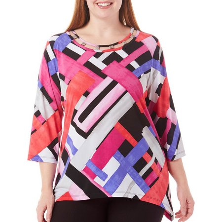 Alfred Dunner Plus Closet Case Geo Colorblock Top