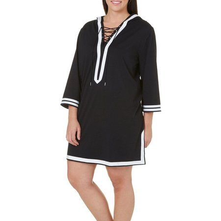 Paradise Bay Plus Lace-Up Hoodie Tunic Cover-Up