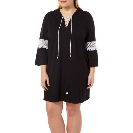 Paradise Bay Plus Lace Front Hoodie Cover-Up