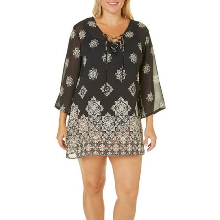 Pacific Beach Plus Floral Tile Tunic Cover-Up