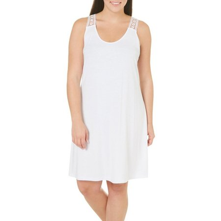 Pacific Beach Plus Crochet Back Dress Cover-Up