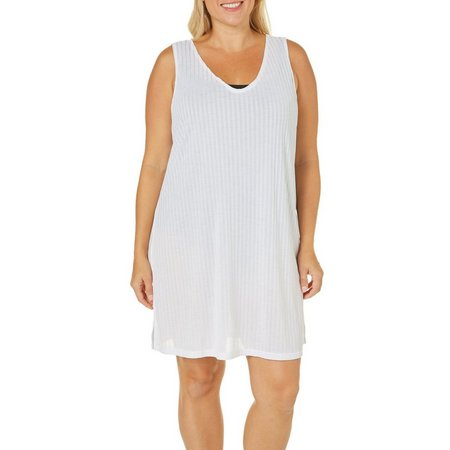 Pacific Beach Plus Flat Onion Skin Tank Cover-Up