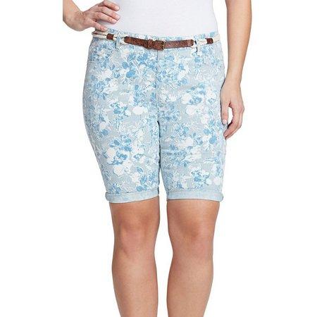 Gloria Vanderbilt Plus Joslyn Garden Belted Shorts