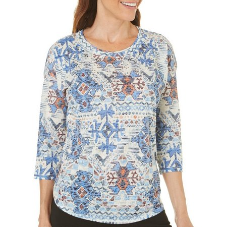 Gloria Vanderbilt Plus Tiara Sky Printed Top