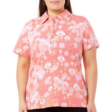 New! Gloria Vanderbilt Plus Annie Bouquet Polo Shirt