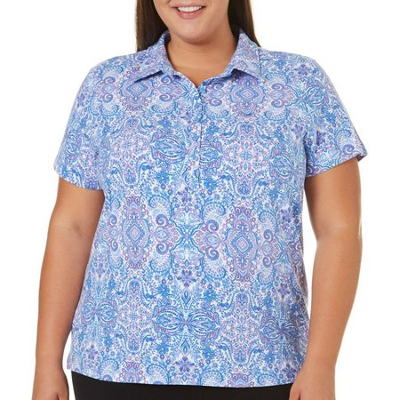 Gloria Vanderbilt Plus Annie Paisley Polo Shirt