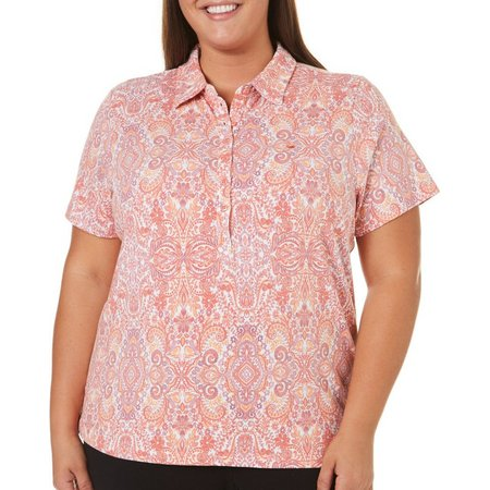 Gloria Vanderbilt Plus Annie Paisley Polo Shirt