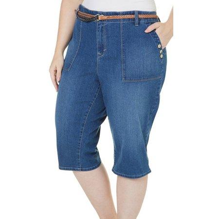 Gloria Vanderbilt Plus Ivana Skimmer Belted Shorts