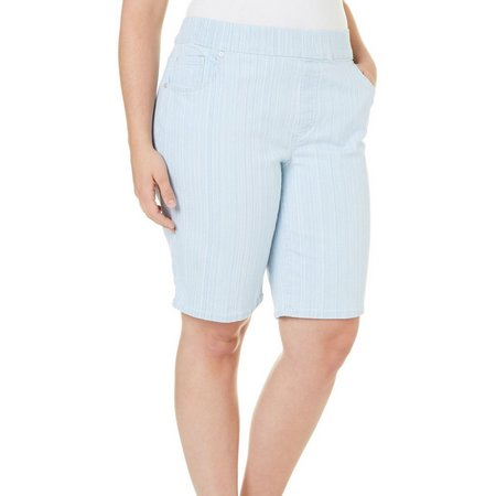 Gloria Vanderbilt Plus Avery Stripe Bermuda Shorts