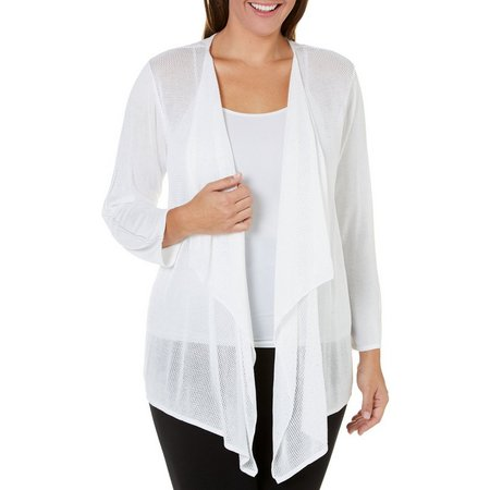 Nue Options Plus Solid Drape Front Cardigan