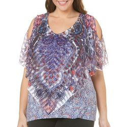 OneWorld Plus Exquisite Lace Poncho Top
