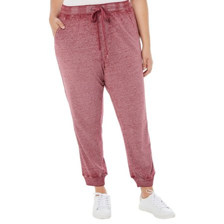 Derek Heart Juniors Plus Heathered Jogger Pants