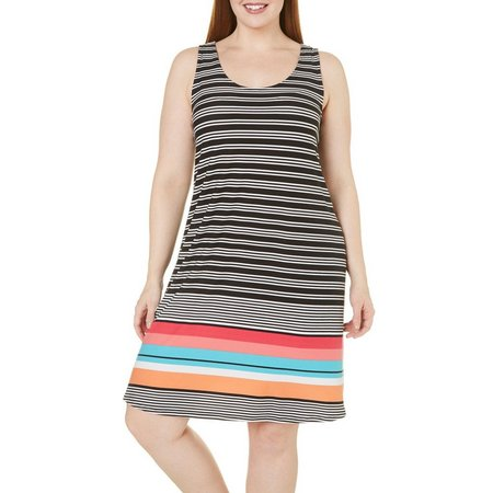Derek Heart Juniors Plus Striped Crochet Dress