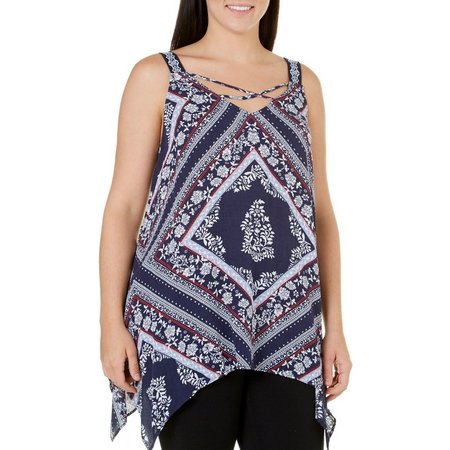Eyeshadow Juniors Plus Cross Front Print Top