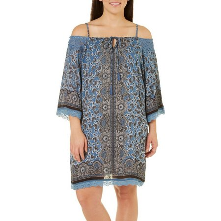 Angie Juniors Plus Print Cold Shoulder Dress