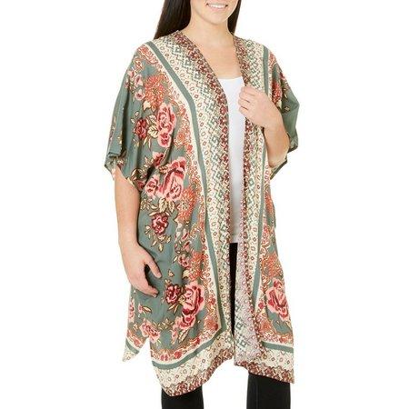 Angie Juniors Plus Long Floral Kimono