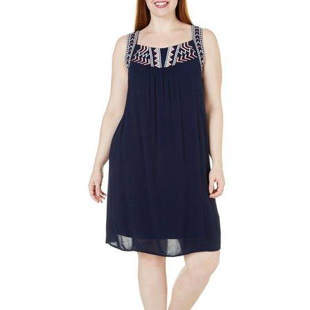 Bailey Blue Juniors Plus Blue Ivory Fuschia Dress