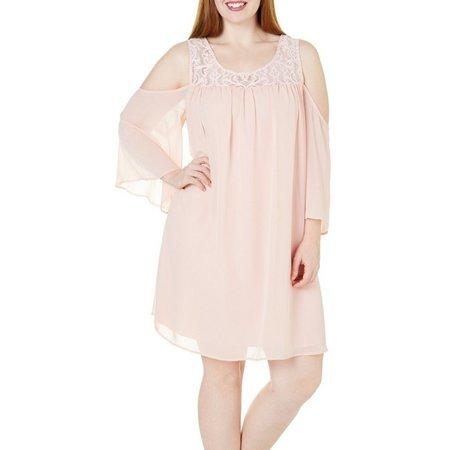 Bailey Blue Juniors Plus Solid Cold Shoulder Dress